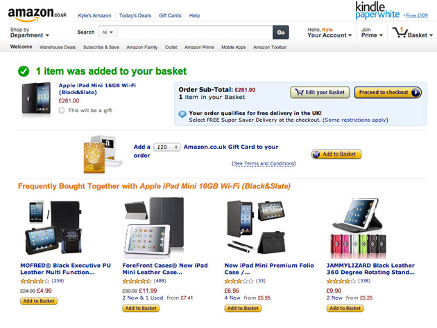 Amazon complimentary purchase recommendations