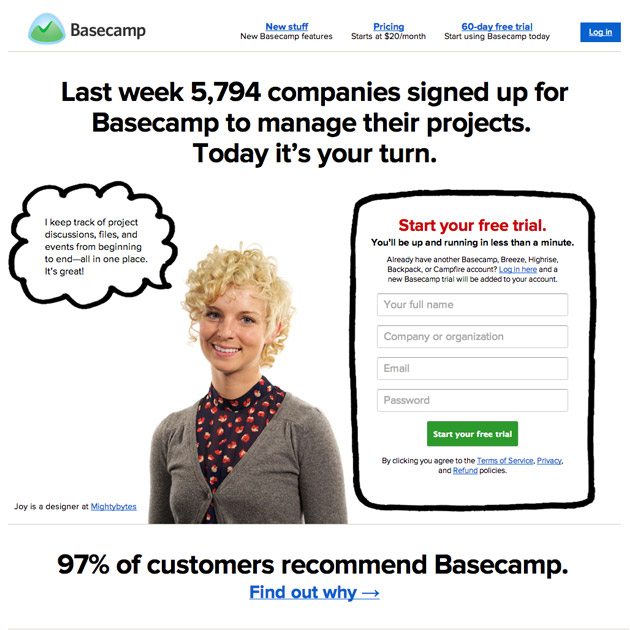 Basecamp testimonial on the homepage