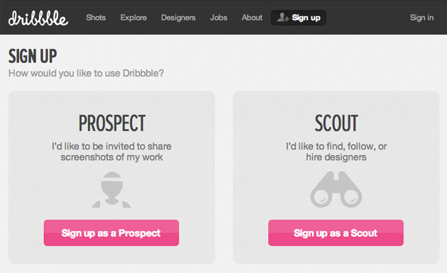 Dribble's invitation based signup page