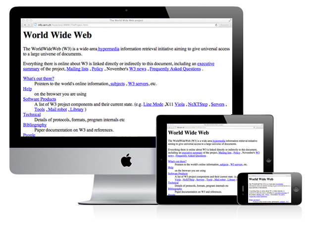 The worlds first webpage shown on an iMac, iPad and iPhone