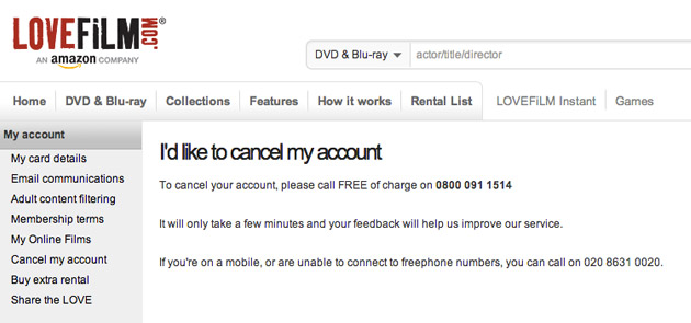 Lovefilm account cancelation page