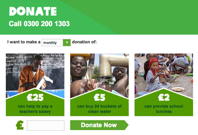 Oxfam default monthly donation