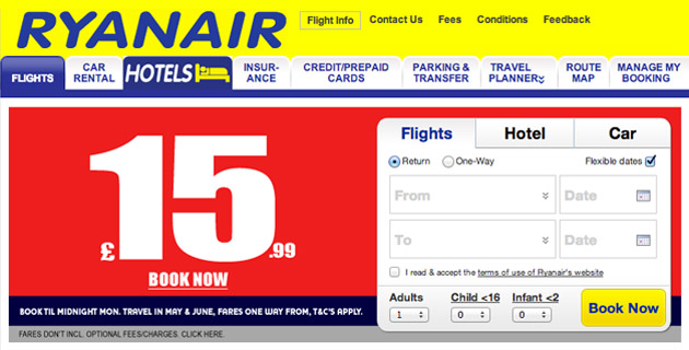 Ryanair 'Book Until Midnight' dialog