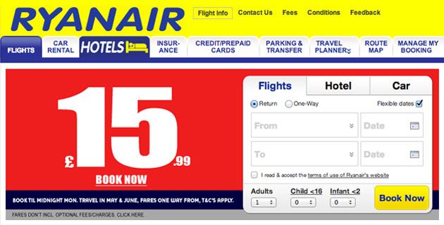 Ryanair 'Book Until Midnight' dialog