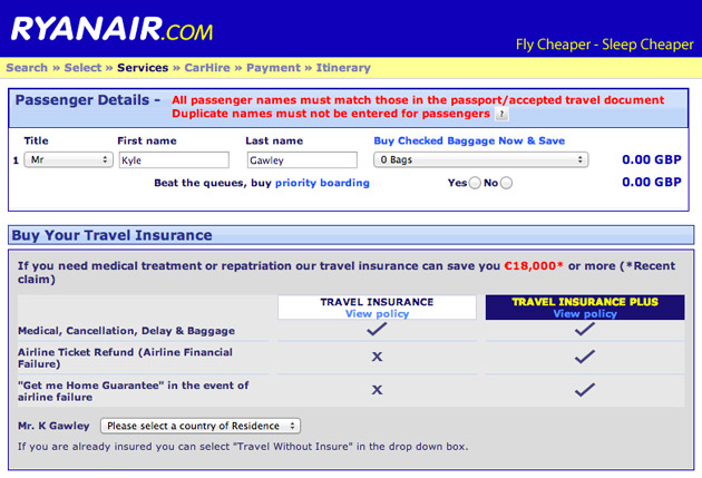 Ryanair automatic travel insurance
