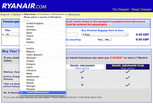 Ryanair hidden remove travel insurance option