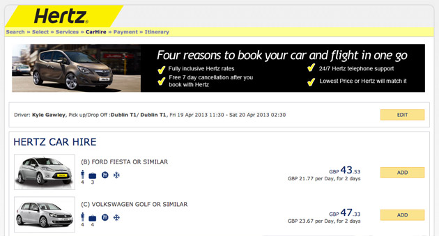 Hertz car hire on Ryan air website