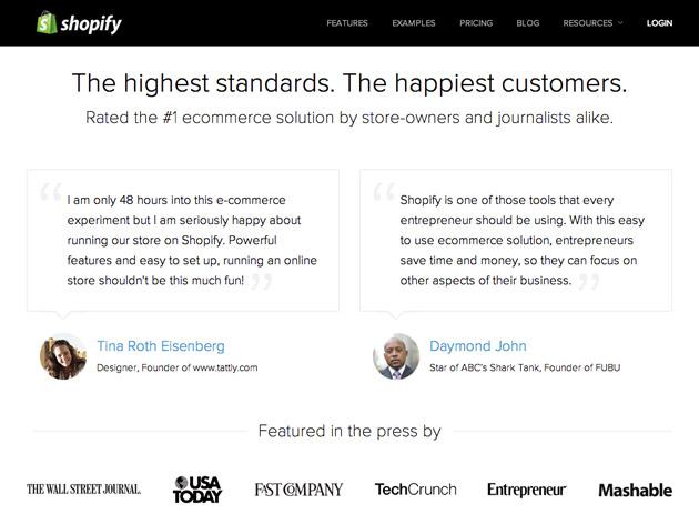 Shopify testimonials page